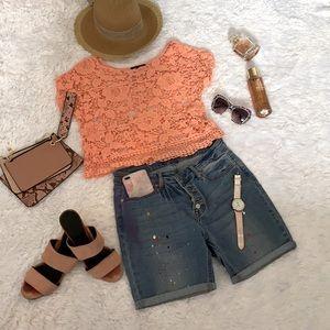 Peach Knit Crop cotton top for summer